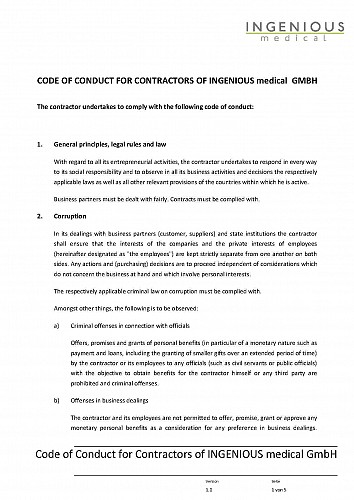 CODE OF CONDUCT FOR CONTRACTOR